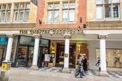 CHESTER, ENGLAND - MARCH 8TH, 2019: The entrance of the Chester Grosvenor in the middle of March on a sunny day stock photo