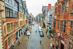 CHESTER, ENGLAND - MARCH 8TH, 2019: A view of Chester Highstreet royalty free stock photography