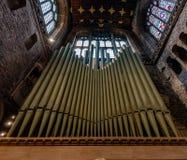 CHESTER, GROSSBRITANNIEN - 8. MÄRZ 2019: Ein Abschluss oben von Chester Organ stockfoto