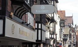 Chester High Street met Tudor Style-gebouwen stock afbeelding