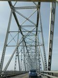 Chester Illinois-brug over de Rivier van de Mississippi Royalty-vrije Stock Fotografie