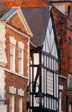 Chester, Inglaterra, detalle blanco y negro del edificio Foto de archivo libre de regalías