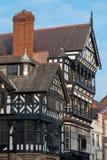 Chester, Inglaterra, detalle blanco y negro del edificio Imágenes de archivo libres de regalías