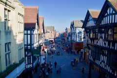 Chester street from Eastgate royalty free stock photo