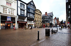 Chester streets, UK. Tudor buildings in the city of Chester in Cheshire in north west England in the United Kingdom. The English Tudor period is from the royalty free stock photography
