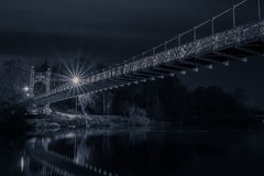 Chester suspension bridge at night. A night picture of the chester bridge over the river dee Stock Photography