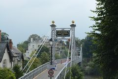 Chester suspension / foot bridge. Leading over the river Dee Royalty Free Stock Image