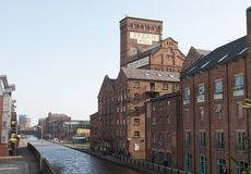 Chester Town Old Factory. Chester, England - February 23, 2019: Street view of old factory and canals in the city of Chester, England royalty free stock photo