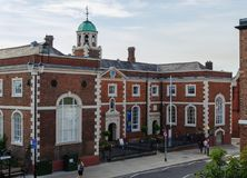 Chester, UK: Aug 6, 2018: Bishops` Blue Coat Church of England High School is now part of Chester University. The Grade II listed. Building was built in 1717 Stock Photo