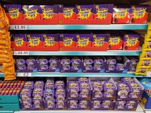 Various selection of Easter Eggs on sale in a supermarket royalty free stock images
