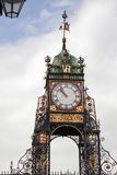 Chester Walls Clock. Victorian clock mounted on the city walls at Chester, UK. This public clock was erected in 1897 by public subscription. The coats of arms royalty free stock photo