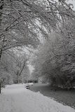 Chesterfield canal covered in snow Royalty Free Stock Image