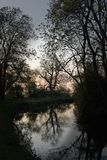 Chesterfield Canal, Drakeholes , early morning. Royalty Free Stock Photo