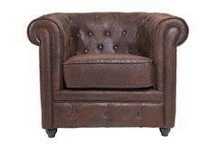 Chesterfield chair. Chesterfield leather chair in brown isolated Royalty Free Stock Photo
