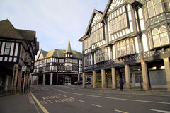 Chesterfield, Derbyshire. A large amount of Black/White Tudor Architecture still exists at Chesterfield, Derbyshire, England, UK Royalty Free Stock Photo
