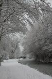 Chesterfield-Kanal bedeckt im Schnee Lizenzfreies Stockbild