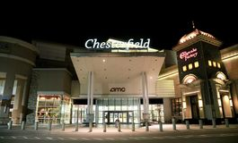 Chesterfield Mall at night, Chesterfield, Missouri. Chesterfield Shopping Mall outside the city of St. Louis, Missouri Stock Photo