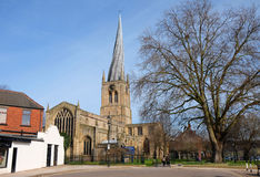 Chesterfield Parish Church. Chesterfield Saint Mary`s Church in Derbyshire has a distinctive crooked spire Royalty Free Stock Photography
