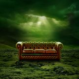 Chesterfield. Romantic Landscape artwork background with Chesterfield on green moss Royalty Free Stock Image