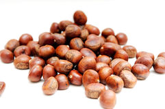 Chestnut. A pile of fried chestnuts Royalty Free Stock Photos
