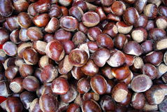Chestnut. Mature chestnuts, put in the market. A close-up of chestnut stock image