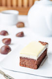Chestnut brownie cake with chestnut  white chocolate mousse Royalty Free Stock Photography