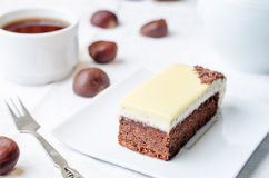 Chestnut brownie cake with chestnut  white chocolate mousse Stock Photography