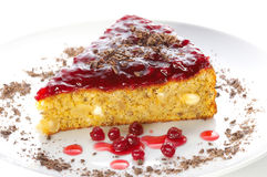 Chestnut cake. With redcurrant jam stock images