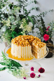 Chestnut cake with caramel on top Royalty Free Stock Photo