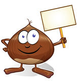 Chestnut cartoon with signboard Royalty Free Stock Image