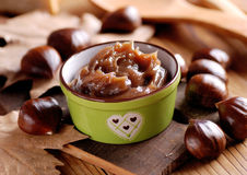 Chestnut cream in the bowl Royalty Free Stock Photography