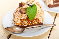 Chestnut cream cake dessert Stock Photography