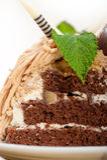 Chestnut cream cake dessert Stock Photo