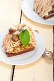 Chestnut cream cake dessert Stock Photos