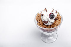 Chestnut cream cup. With dried cherries stock photography