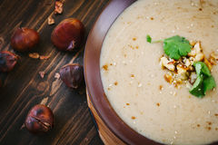 Chestnut cream soup royalty free stock images