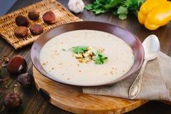 Chestnut cream soup stock photo