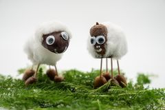 Chestnut figures as sheep against an background royalty free stock photos