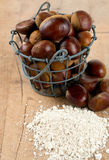 Chestnut flour on wooden table royalty free stock photos