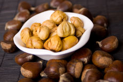 Chestnut fruit in a bowl. Cooked chestnut served as snack in a bowl Stock Photography