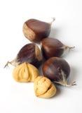 Chestnut fruit isolated on white Stock Photography