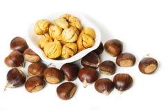 Chestnut fruit isolated on white stock image
