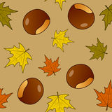 Chestnut Fruit & Leaves Seamless Pattern Stock Photography