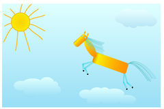 Chestnut horse gallops to the sun on clouds Royalty Free Stock Image