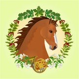 Chestnut horse hunting theme vector Royalty Free Stock Images