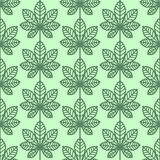 Chestnut leaves seamless vector pattern. Vintage style and colors (green). Stock Photo