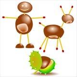 Chestnut little figure. Conker foetus figures toys joke Royalty Free Stock Photo