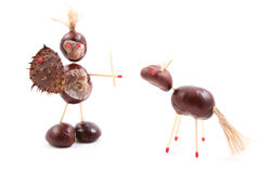 Chestnut man and horse. Chestnuts man and horse isolated on white Royalty Free Stock Photos