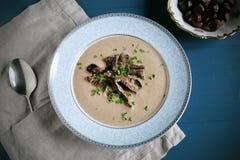 Chestnut and mushroom autumn creamy soup Royalty Free Stock Photos