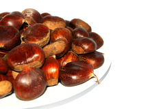 Chestnut pictures with natural crust and without crust Royalty Free Stock Photo
